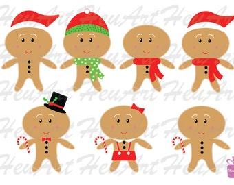 NEW Cute Gingerbread Man Clipart - Christmas Printables, Holiday Printables, Gingerbread man Stickers, Gingerbread man DIY, Digital, Artwork