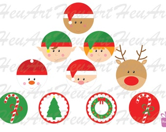 NEW Cute Christmas Topper Faces, Cupcake Toppers Artwork, Cute Christmas Printables, Cute Cupcake Stickers, Cute Christmas Tag, Cute Clipart