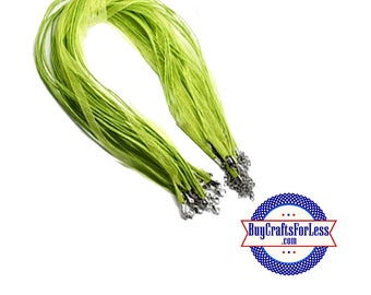 Ribbon CORD necklace, light GREEN **FREE Shipping with orders 10 dollars+**