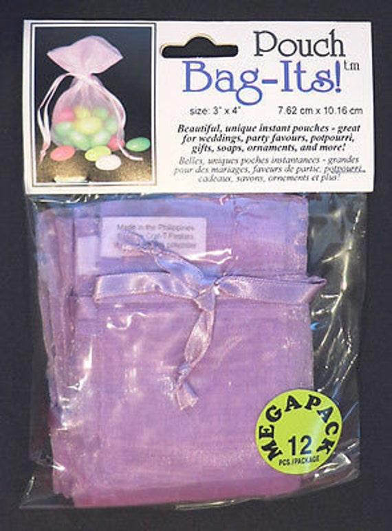 "Sheer Organza Bag-its, 12 pcs 3"" x 4"", lt purple  **FREE U.S. SHIPPING**"