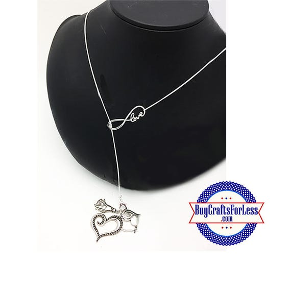 """Heart Infinity Necklace with 4 CHARMS, 26""""  **FREE U.S. SHIPPING**"""