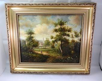 Early 20thC gilt framed oil on board signed Van Meyer