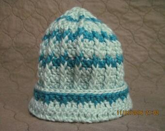child's turquoise & light aqua winter hat