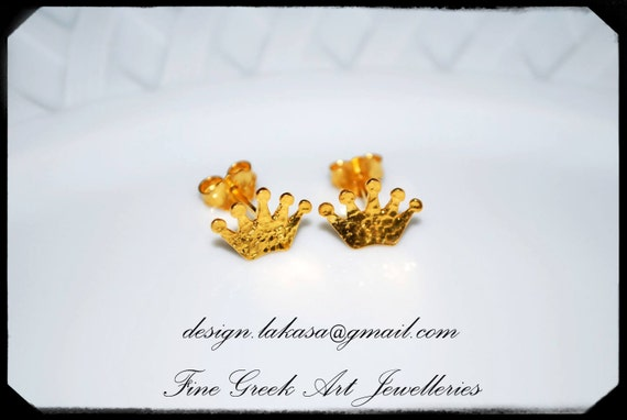 Crowns Earrings Studs Sterling Silver Gold-plated Jewellery Lakasa e-shop best gifts ideas for her