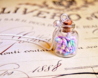 Handmade miniature polymer clay marshmallow bottle necklace - miniature food jewelry, bottle necklace, food jewelry