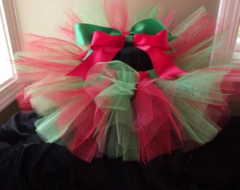 Christmas tutu, holiday tutu, baby girl tutu, toddler tutu skirt, glitter tutu