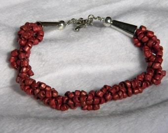 Cranberry Spiral Beaded Bracelet