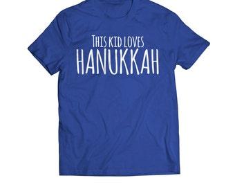 Hanukkah Kids, Hanukkah Toddler, FREE Shipping, This Kid Loves Hanukkah Toddler Youth T-Shirt, Kids Hanukkah gift, Toddler Hanukkah gift