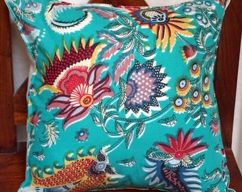 12 Spring series: Cushion, colorful cotton, Indian floral linen cover.