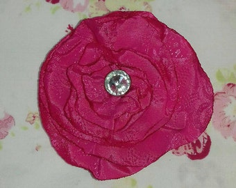 Flower hair clip, pink satin hair clip with crystal button center