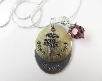 Hand stamped RN necklace