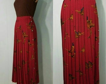 Vintage Abercrombie & Fitch Pleated Plaid Pheasant Maxi Skirt