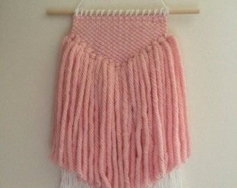 Pink and White Hand Woven Wall Hanging - perfect for nursery or kids room!