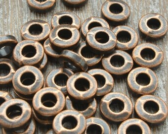 Copper Washers, Copper Beads, Copper Spacer Beads, Loose Beads. Heishi Beads, Bead Supply, 6mm Beads, 6mm Copper Washers, Pack of 50