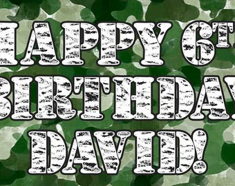 Camouflage Personalized Birthday Banner/Backdrop