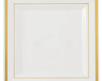 "50PCS 7.25"" Gold Square Border White Plastic Plate, Wedding Supplies, Wedding, Wedding Decor, Party Supplies, Plastic Plates"