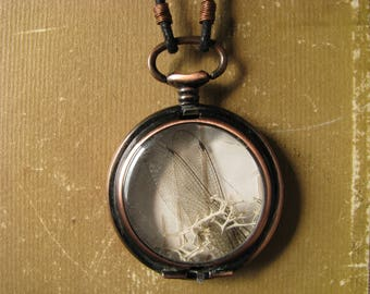 Old Pocketwatch Necklace with Dragonfly Wings