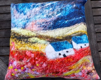 "18"" faux suede digitally printed cushion from an original wet felt picture."