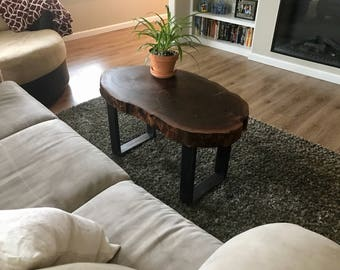 Walnut Coffee Table with Tube Legs