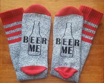 BEER ME SOCKS, Mens Socks, Funny Sayings, Red & Grey Socks, Gifts for Him, Bottoms Up Socks, Beer Socks, Beer Lover, Bring Me Beer