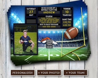 Football Birthday Invitation, Thank You Postcards, Set, Your Photo, Any Age, Goal, Football, Your Team, Birthday, Printable, Download