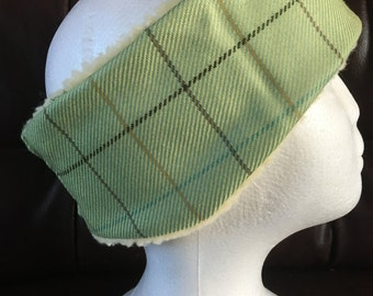 Green check tweedy/woollen headband