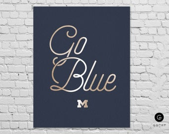 "University of Michigan Print - 8"" x 10"" - Fan Art - Go Blue - Michigan Wolverines | Gold Foil Sports Print | Gift for Him | Michigan Print"