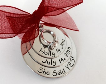 Personalized engagement Christmas ornament she said yes Christmas gift engaged first Christmas wedding gift engagement gift personalized