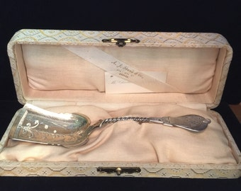 Coin Silver Berry Scoop by Francis A. Bonnell, Syracuse NY - 1866-71
