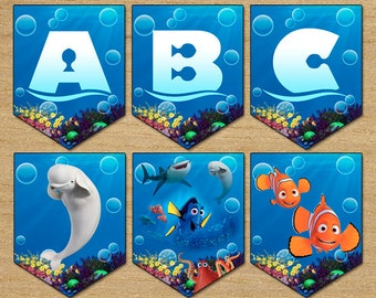 Finding Dory Birthday Banner, Party Banner Dory Digital Printable, Download Instant Finding Dory Banner, Birthday Finding Nemo Banner