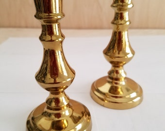 Lacquered Brass Candlesticks - Made in England - Pair of Two