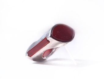Ring silver and carnelian