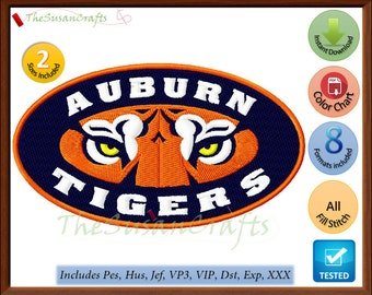 AUBURN Tigers EMBROIDERY DESIGNS Pes, Hus, Jef, Dst, Exp, Vp3, Xxx, Vip