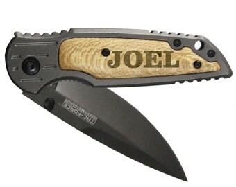 Personalized Pocket Knife -  Groomsman Gift - Engraved Pocket Knife - Groomsmen Gift - Groomsmen Knife - Personalized Knife - All Gunmetal
