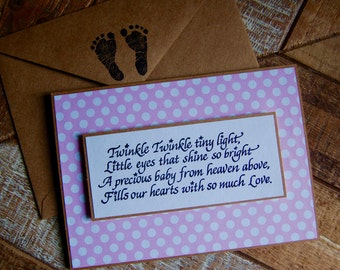 Baby Girl Greeting Card- Hand Stamped Baby Card- New Baby Girl Card
