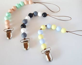 Silicone Beaded Pacifier Clip • Baby Pacifier Clip • BabyLou •