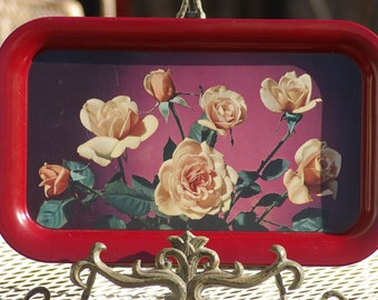 Vintage Red with Yellow Roses TV Lap Trays (Nine  total)