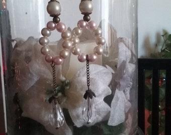 Porcelain Doll Pearl Vintage Inspired Hoop Bead Earrings