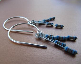 Blue Resistor Dangle Earrings