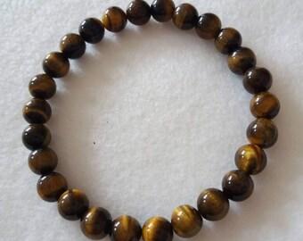 Mens Tiger Eye Bead Bracelet