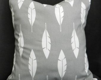Pillow Cover 18x18, Grey with White Feather Motif