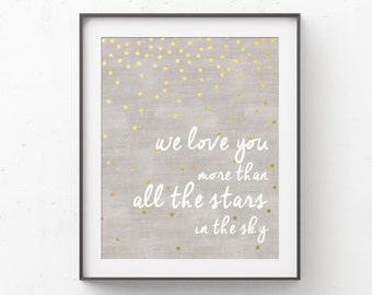 Love You More Wall Art we love you more than all the stars in the sky nursery wall