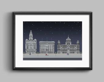 Liverpool Starry Three Graces Print Original Artwork