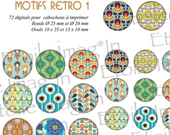 Board 72 digital * patterns Retro I * to print for cabochons