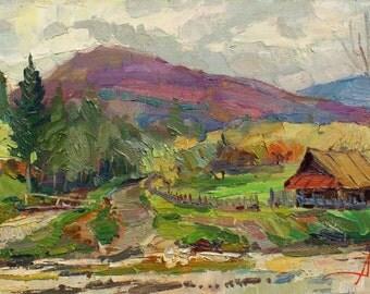 Sale 30% MOUNTAIN RURAL LANDSCAPE, Original Oil Painting by A.Chebotaru, European Ukrainian Art, Unique Signed Artwork, Impressionist Art