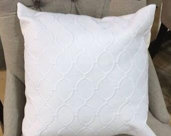 White pillow cover, White pillow, White pillow cushion, White Trellis pillow, White Decorative pillow, White throw pillow, Nursery decor