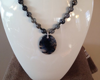 Genuine Dragon Vein Agate Jewelry Set