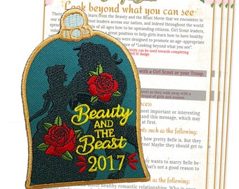 Girl Scout, Beauty and the Beast, Fun Patch, Iron on, Embroidered, Girl Scout, Beauty and the Beast, Movie, Patch, Troop, Movie