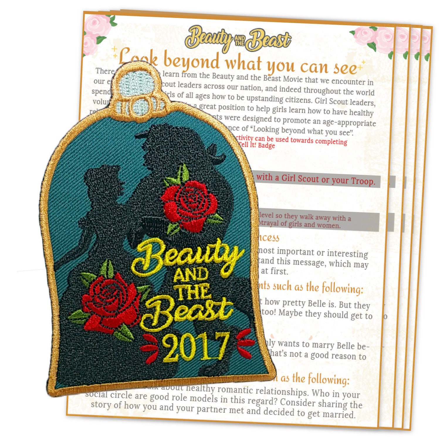 Girl scout scrapbook ideas - Girl Scout Beauty And The Beast Fun Patch Iron On Embroidered Girl Scout Beauty And The Beast Movie Patch Troop Movie