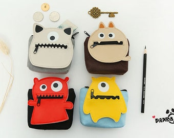 Cute Cartoon Coin purse,Creative Coin Bags,Designed Zipper Pouch, Small Card Holder,Monster